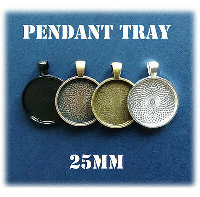 20 x Pendant tray 1 inch 25mm circle round Jewellery black silver bronze bezel
