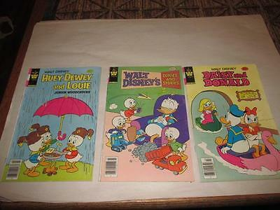 Lot of 3 Disney Vintage Comic Books Donald Duck Huey Dewey and Louie 1980