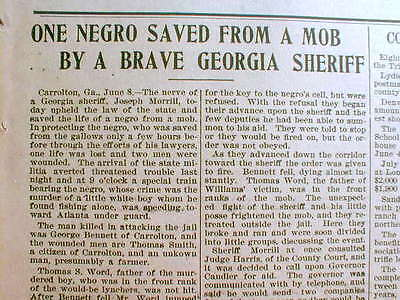1901 newspaper NEGRO MAN saved from LYNCHING by White Sheriff  CARROLTON Georgia