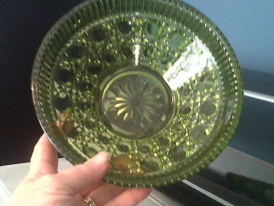 FEDERAL GLASS Green WINDSOR Buttons & Cane vintage bowl                      (G)