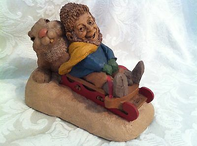 Tom Clark Wolfe Bunny Slope Rabbit Sled Gnome Figurine Made In The USA