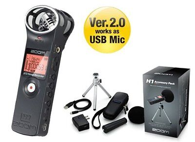 ZOOM H1 Black Ver.2.0 Handy Recorder linear PCM recorder Accessory Pack New