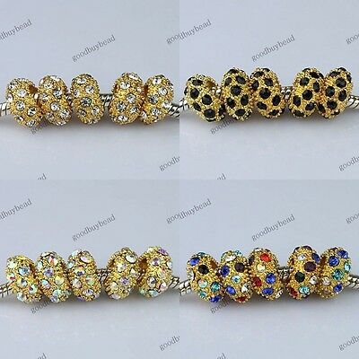Rhinestone Crystal Pave Gold Rondelle Big Hole Spacer Charm Beads Fit Bracelet