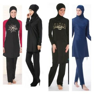 Womens Islamic Muslim Full Cover Costumes Modest Swimwear Beachwear Swimming
