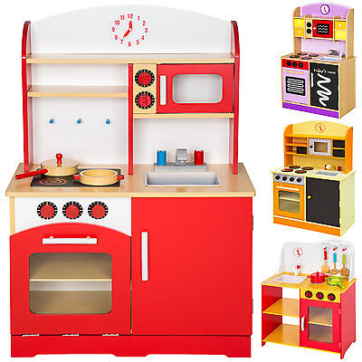 Wooden childrens kids kitchen pretend role play cooking toys learner set new