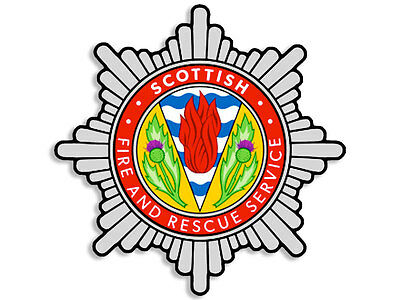 4x4 inch SCOTTISH Fire & Rescue Service Crest Shaped Sticker - scotland decal uk