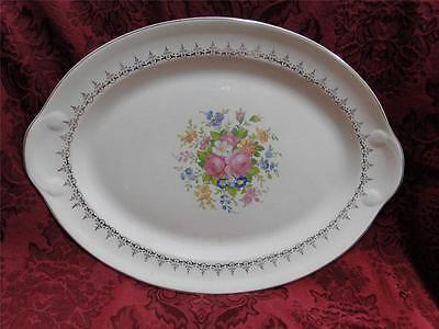 """Taylor Smith Taylor: Floral Bouquet, Gold Filigree: Oval Platter, 13.25"""""""