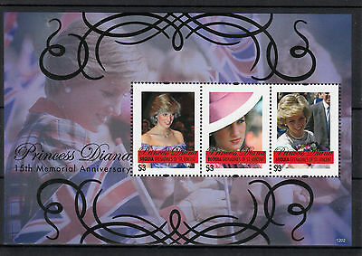 Bequia Grenadines St Vincent 2012 MNH Princess Diana 15th Memorial Anniv 3v M/S