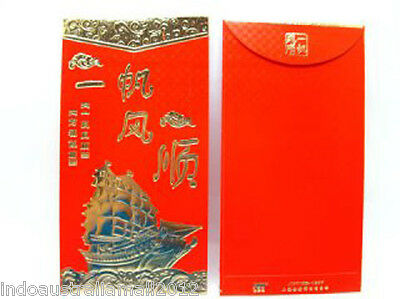 3 x Good Luck Chinese Traditional Golden RED PACKET Envelopes Premium(P33)