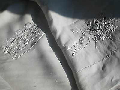 ANTIQUE FRENCH LINEN SHEET+ 2 PILLOWCASES- CROWN OF BARON-WHITE EMBROIDERY- XIXè