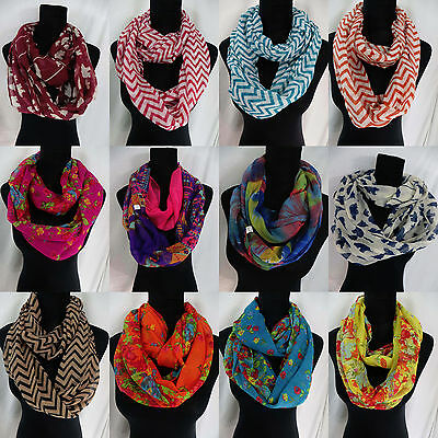 US SELLER-lot of 10 Chevron floral boho scarf infinity wholesale circle loop