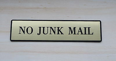 NO JUNK MAIL Letterbox Plastic Sign, Front Door, Post box or Office Plastic Sign