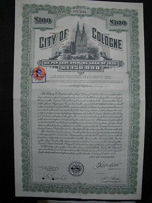City of Cologne  1928  Köln 100£     Kölner Dom