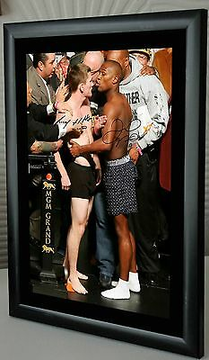 "Floyd Mayweather v Ricky Hatton  Boxing  Framed Canvas Print Signed ""Great Gift"""