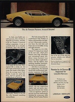 1972 DE TOMASO PANTERA Yellow Sports Car - Lincoln - Mercury - Ford - VINTAGE AD