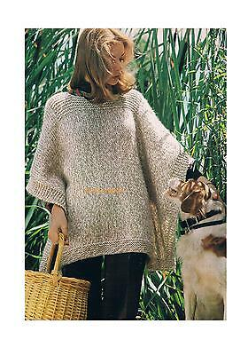 Ladies Easy to Knit Poncho Vintage Knitting Pattern PATTERN ONLY Chunky One Size