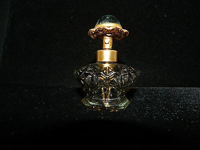 Vtg Irice Cut Glass Perfume Bottle With Glass Dome Cameo Flower Gold Filigree