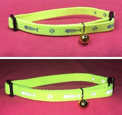 Cat kitten Collar Reflective Adjustable YELLOW Quick Release Safety Buckle Bell
