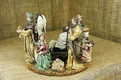 4 pc Nativity Ring Centerpiece Candle Holder Wise Men Angel Shepard Baby Jesus