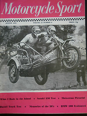 MOTORCYCLE SPORT MAGAZINE 08/72 - 750cc NORTON WASP MOTOCROSS OUTFIT COVER