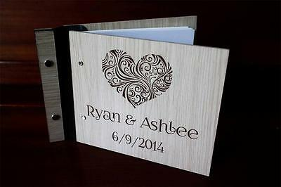Wedding party wooden customised guest book, photo album unique rustic A4 large
