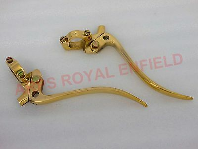 "Universal Vintage Bikes Brass Brake And Clutch Levers 1"" Inch Handlebar Auto Edh"