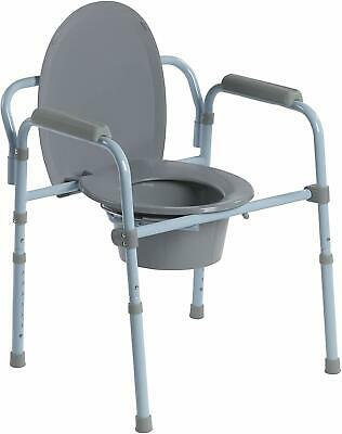 Folding Toilet Bedside Commode Seat with Bucket and Splash Guard Drive Medical