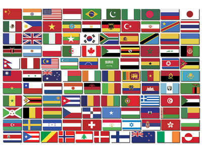 Sheet of Top 110 WORLD COUNTRY Flag Stickers - scrapbooking countries small set