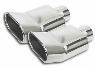PAIR of Turn Up Rectangle Stainless Steel Muffler Exhaust Tips Roll Outlet 2 Tip