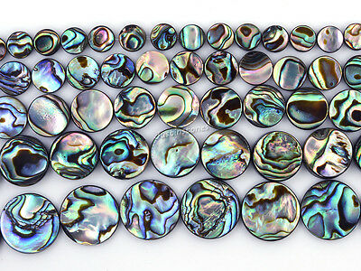 "Natural abalone shell flat coin beads strand 16"" 6mm to 18mm"