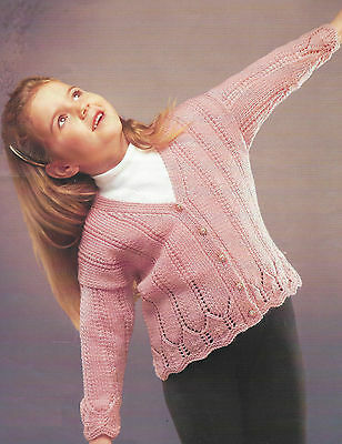 7eefe76b38ef4 GIRLS KNITTING PATTERN Lace and Cable Cardigan 20-30
