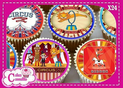 24 X Circus Mixed  - Edible Cupcake Toppers Cake Wafer Rice Paper 9726