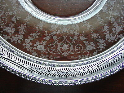 """Sterling Glass Platter Cambridge Diane Silver Reticulated Edge 17"""" Antique"""