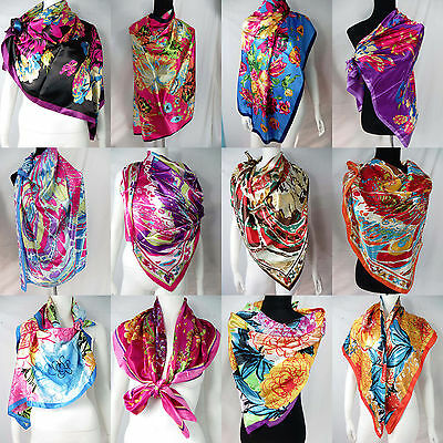 """lot of 5 wholesale  Artificial silk 39"""" satin square scarves shawl wrap stole"""