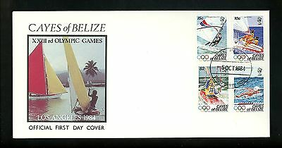 Postal History FDC #14-17 Belizes Cayes 1984 Olympic Los Angeles water sports