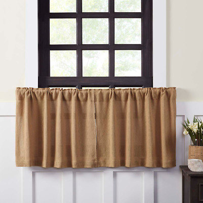 "Burlap Natural Tier Set Tan 24 ""long Burlap Window Rustic Primitive Cafe Curtain"