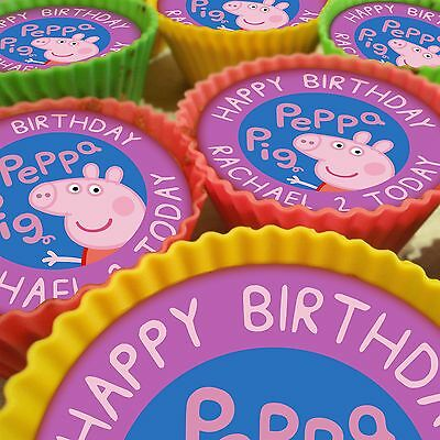 Peppa Pig_2 Personalised Cupcake Toppers 12 Pre-Cut Edible Images