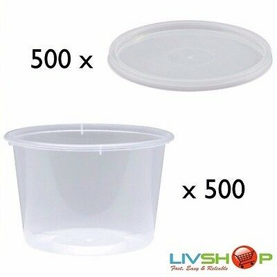 500 Pieces of Round Plastic Takeaway Containers 850ml with Lids