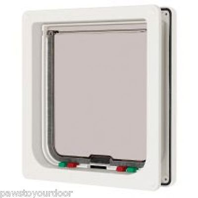 Pet Mate 4 way locking Small Dog / Large Cat  white Catflap Dog Door Pet 221WD