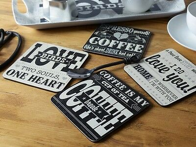 Set of 4 LOVE COFFEE Mixed Sayings LARGE Cork-Backed COASTERS By Creative Tops