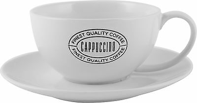 EVERYDAY HOME Stoneware EMBOSSED Cappuccino Cup and Saucer