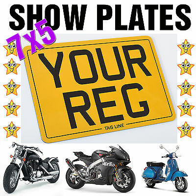 7x5 MOTORCYCLE BIKE SHOW STYLE SMALL REG NUMBER PLATE * 4 FIXINGS INCLUDED*