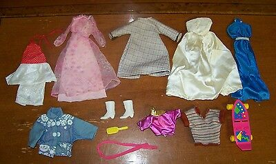 Lot of 10+ Barbie Doll Clothes And Accessories Including Skateboard