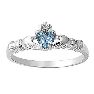 New Sterling Silver Petite Claddagh Blue Aquamarine CZ Ring March Birthstone