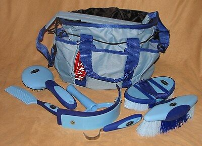 6 Piece Showman Deluxe Grooming Kit with Nylon Carrying Bag Horse or Pony - BLUE