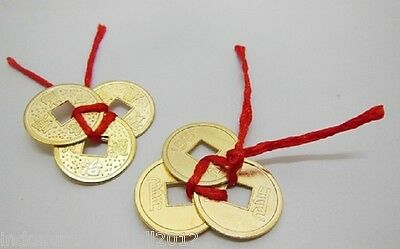 5  Sets of 3 Chinese Golden Auspicious Coins tied with red Cord Thread(CO35)
