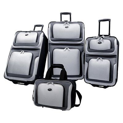 U.S. Traveler New Yorker 4 Piece Expandable Luggage Set, Gray