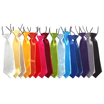 Kids Elastic Satin Neck Tie – (School / Prom / Wedding) Choice of colours