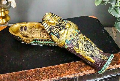 "Egyptian Decor King Tut Sarcophagus with Mummy Inside Figurine Mini 4""L Statue"