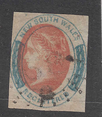 NEW SOUTH WALES SG106 (6d) Registered Q. Vic  Centre Shift* 6 Wmk INVERTED* FU